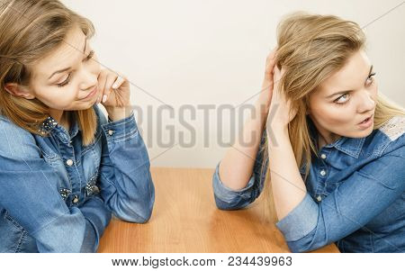 Woman Talking With Confident Ignorant Female Friend Being Mad After Quarrel, Ignoring What She Sayin