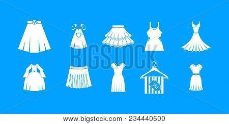 Dress Skirt Icon Set. Simple Set Of Dress Skirt Vector Icons For Web Design Isolated On Blue Backgro