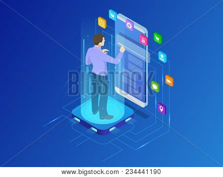 Isometric Programmer Working In A Software Develop Company Office. Developing Programming And Coding