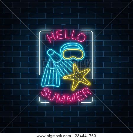 Glowing Neon Sign Of Summer Begin Party With Sea Star, Flippers And Mask Symbols In Rectangle Frame