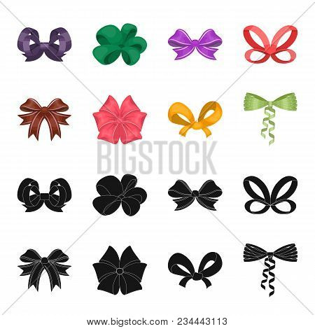Bow, Ribbon, Decoration, And Other  Icon In Black, Cartoon Style. Gift, Bows, Node Icons In Set Coll