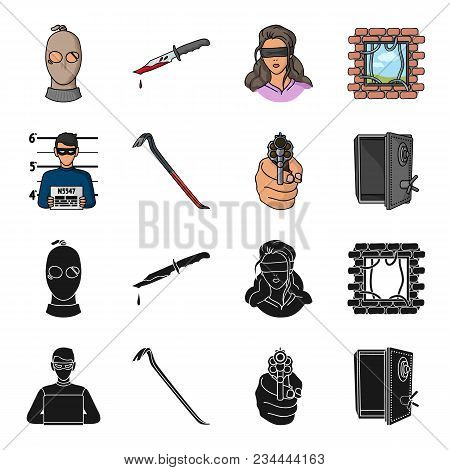 Photo Of Criminal, Scrap, Open Safe, Directional Gun.crime Set Collection Icons In Black, Cartoon St