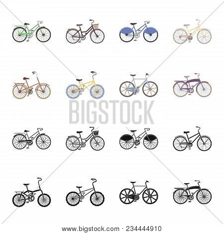 Children Bicycle And Other Kinds.different Bicycles Set Collection Icons In Black, Cartoon Style Vec