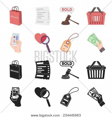 Hand, Mobile Phone, Online Store And Other Equipment. E Commerce Set Collection Icons In Black, Cart