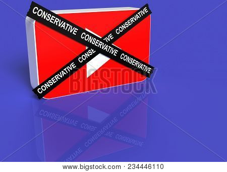 3 April 2018. 3d Illustration. You Tube Logo With A Black Cross With The Word Conservative