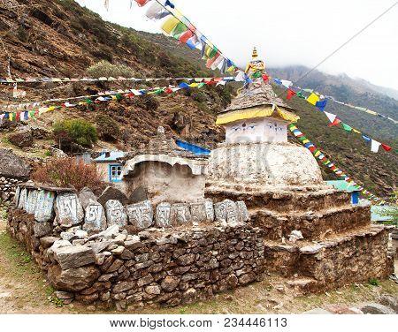 Stupa With Prayer Flags - Way To Mount Everest Base Camp - Khumbu Valley - Nepal