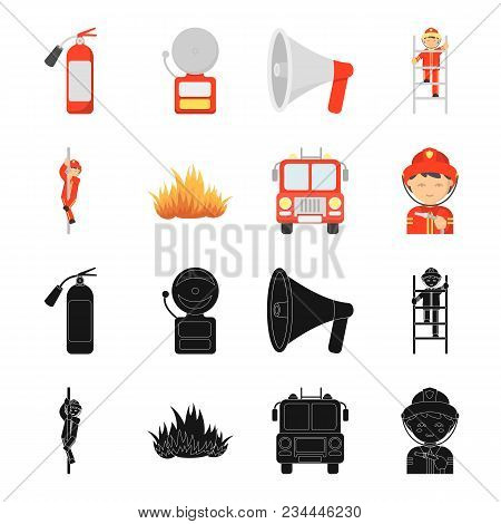 Fireman, Flame, Fire Truck. Fire Departmentset Set Collection Icons In Black, Cartoon Style Vector S