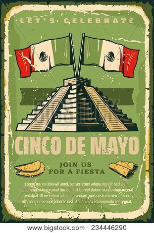 Cinco De Mayo Sketch Retro Poster For Mexican Holiday Greeting Card Or Fiesta Invitation. Vector Cin