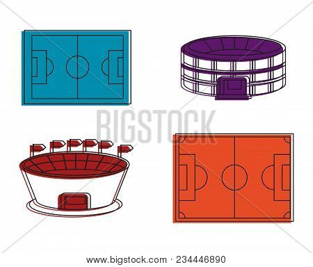 Soccer Stadium Icon Set. Color Outline Set Of Soccer Stadium Vector Icons For Web Design Isolated On