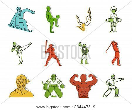 Sportsmen Icon Set. Color Outline Set Of Sportsmen Vector Icons For Web Design Isolated On White Bac