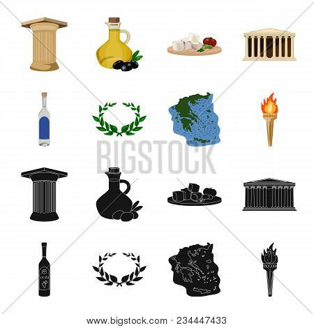Greece, Country, Tradition, Landmark .greece Set Collection Icons In Black, Cartoon Style Vector Sym