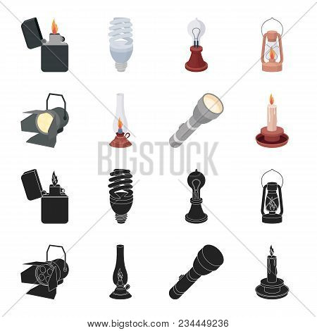 Searchlight, Kerosene Lamp, Candle, Flashlight.light Source Set Collection Icons In Black, Cartoon S