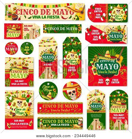 Cinco De Mayo Tag And Fiesta Party Invitation Banner. Mexican Holiday Skull In Sombrero With Maracas