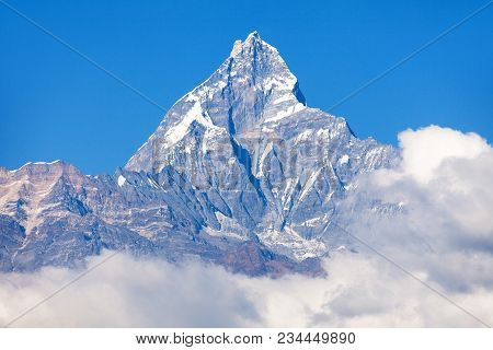 Blue Colored View Of Mount Machhapuchhre, Annapurna Area, Nepal Himalayas Mountains