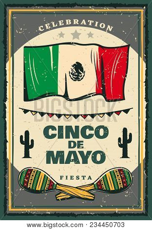 Cinco De Mayo Mexican Holiday Retro Banner For Invitation Template. Fiesta Party Maracas, Flag Of Me