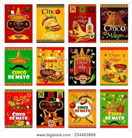 Cinco De Mayo Greeting Card Set For Mexican Holiday Design. Sombrero, Maracas And Guitar, Fiesta Par