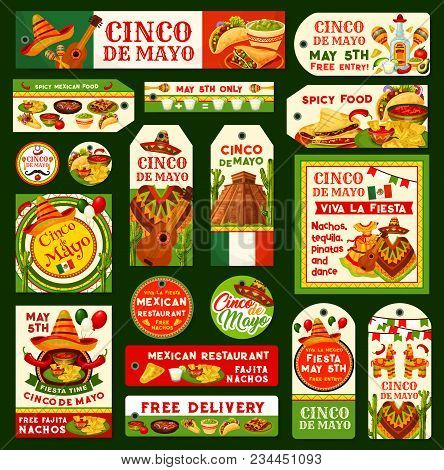 Cinco de mayo greeting cards tags vector photo bigstock cinco de mayo greeting cards tags posters and banners for mexican holiday or fiesta m4hsunfo Image collections