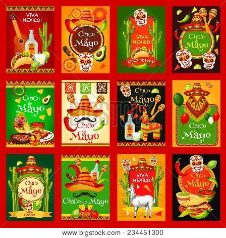 Cinco De Mayo Mexican Holiday Fiesta Celebration Posters. Vector Mexico Flag, Sombrero And Poncho On