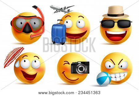 Smileys Vector Set With Summer And Travel Outfits. Smiley Face Emoticons With Facial Expressions And