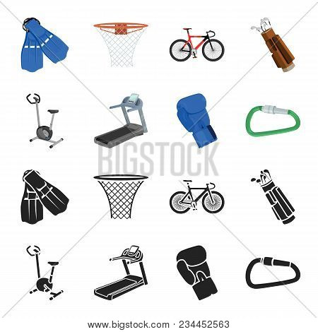 Exercise Bike, Treadmill, Glove Boxer, Lock. Sport Set Collection Icons In Black, Cartoon Style Vect