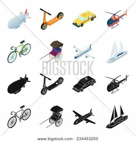 Bicycle, Rickshaw, Plane, Yacht.transport Set Collection Icons In Black, Cartoon Style Vector Symbol