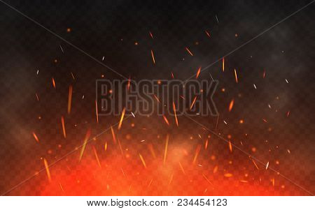 Fire Sparks Flying Up. Glowing Particles On A Transparent Background. Realistic Fire And Smoke. Red