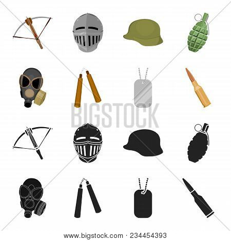 Gas Mask, Nunchak, Ammunition, Soldier Token. Weapons Set Collection Icons In Black, Cartoon Style V