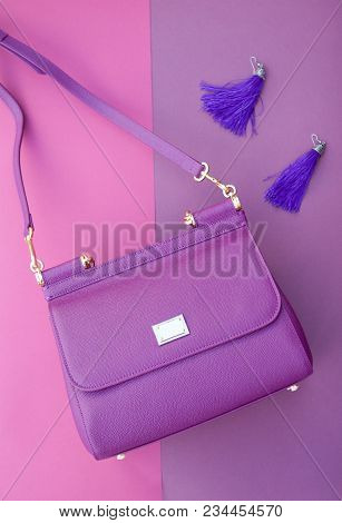 Purple Shoulder Bag, Purple Earrings, Purple Purple Background. Purple Shoulder Bag