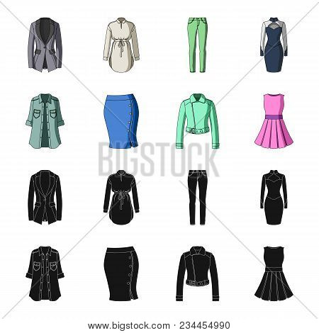 Women Clothing Black, Cartoon Icons In Set Collection For Design.clothing Varieties And Accessories