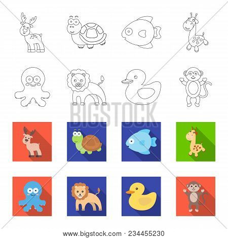 An Unrealistic Outline, Flet Animal Icons In Set Collection For Design. Toy Animals Vector Symbol St