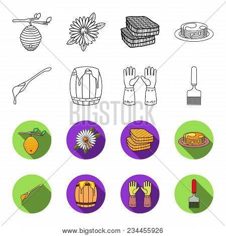 A Spoon Of Honey, Protective Gloves, A Barrel Of Honey, A Fork.apiary Set Collection Icons In Outlin