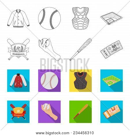 Club Emblem, Bat, Ball In Hand, Ticket To Match. Baseball Set Collection Icons In Outline, Flet Styl