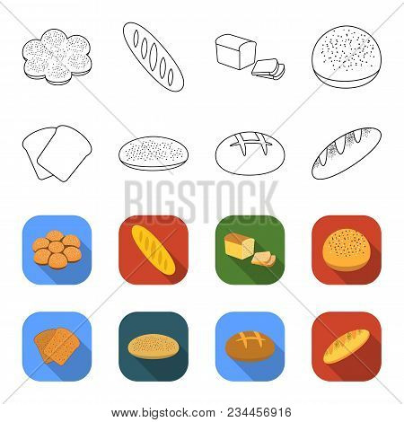 Toast, Pizza Stock, Ruffed Loaf, Round Rye.bread Set Collection Icons In Outline, Flet Style Vector