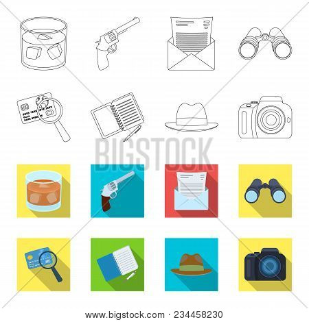 Camera, Magnifier, Hat, Notebook With Pen.detective Set Collection Icons In Outline, Flet Style Vect