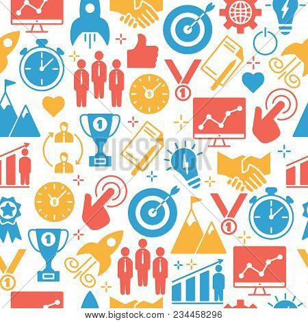Start Up Pattern Of Icons Set. Poster With Outline Art Icons For Start Up Infographics Websites And