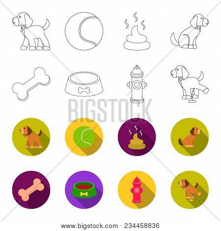 A Bone, A Fire Hydrant, A Bowl Of Food, A Pissing Dog.dog Set Collection Icons In Outline, Flet Styl