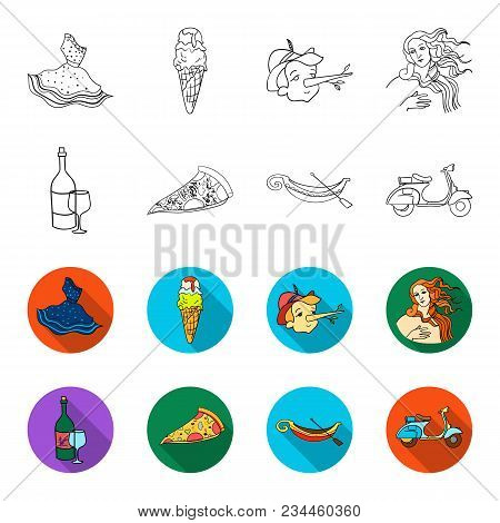 A Bottle Of Wine, A Piece Of Pizza, A Gundola, A Scooter. Italy Set Collection Icons In Outline, Fle