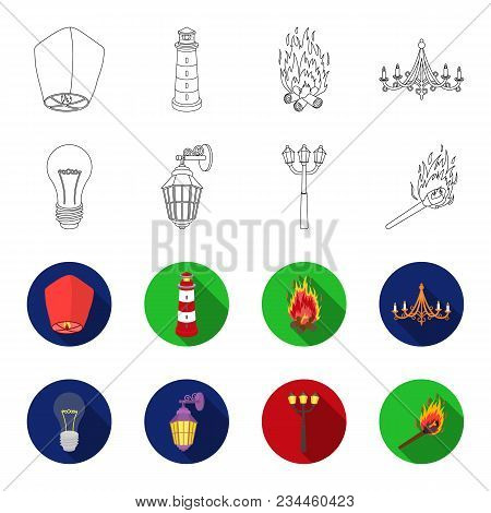 Led Light, Street Lamp, Match.light Source Set Collection Icons In Outline, Flet Style Vector Symbol