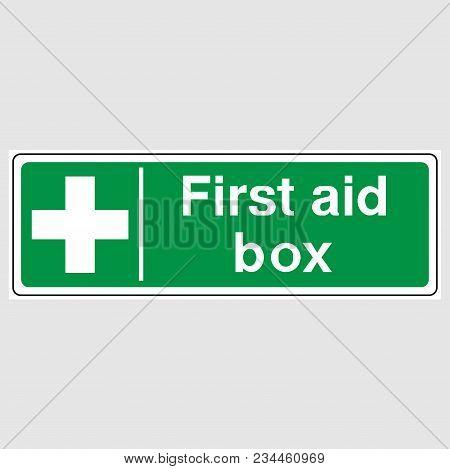 First Aid Box Sign. Green First Aid Box Sign.