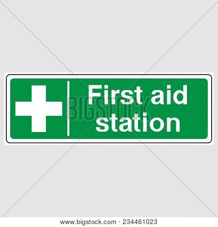First Aid Station Sign. Green First Aid Station Sign.