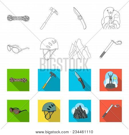 Helmet, Goggles, Wedge Safety, Peaks In The Clouds.mountaineering Set Collection Icons In Outline, F