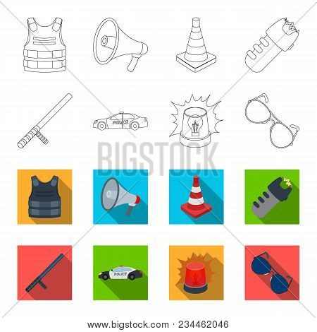 Police Baton, Auto, Flasher, Glasses.police Set Collection Icons In Outline, Flet Style Vector Symbo