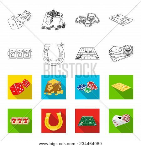 Excitement, Recreation, Hobby And Other  Icon In Outline, Flet Style., Casino, Entertainment, Instit