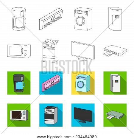 Home Appliances And Equipment Outline, Flet Icons In Set Collection For Design.modern Household Appl