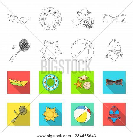 A Game Of Badminton, A Ball And The Sun.summer Vacation Set Collection Icons In Outline, Flet Style