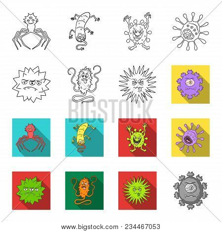 Different Types Of Microbes And Viruses. Viruses And Bacteria Set Collection Icons In Outline, Flet