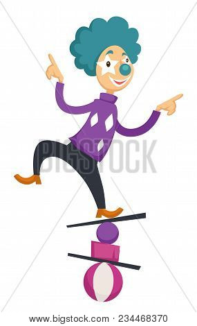 Clown In Circus Balancing On Balls. Vector Cartoon Character Icon Of Clown In Bright Costume And Col