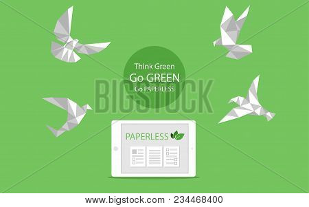 Concept Of White Paper Bird Fly Paperless Go Green, Save The Planet, Earth, Tree, Leaf Logo, Documen