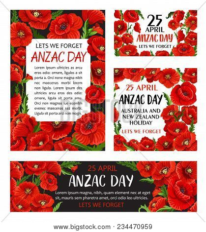 Anzac Day Poppy Flower Memorial Card Of Australian And New Zealand War Soldier. Lest We Forget Banne
