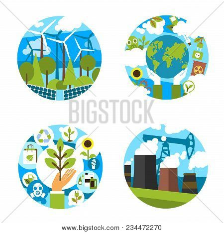 Nature Ecology And Environment Conservation Or Earth Pollution Prevention Icons. Vector Isolated Set